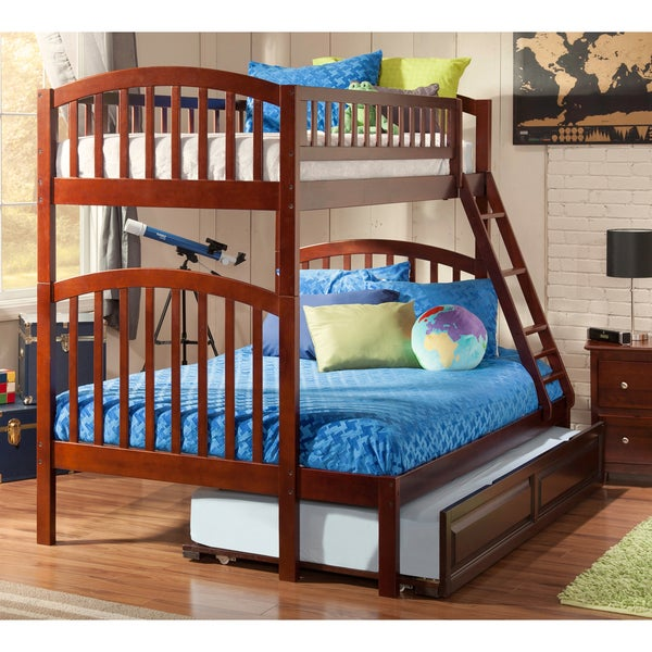 Richland Bunk Bed Twin over Full with Twin Size Raised Panel Trundle Bed in Walnut