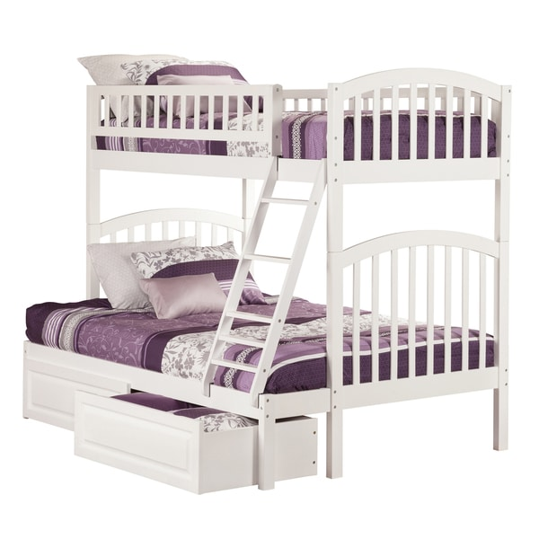 Shop Atlantic Richland White Twin Over Full Bunk Bed With