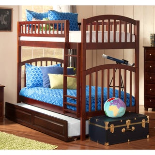Richland Bunk Bed Twin over Twin with Twin Size Raised Panel Trundle Bed in Walnut