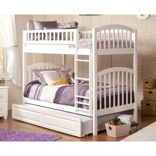 Richland Bunk Bed Twin over Twin with Twin Size Raised Panel Trundle Bed in White