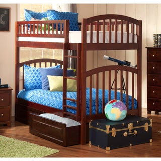 Richland Walnut Twin-over-twin Bunk Bed with Raised Panel Bed Drawers