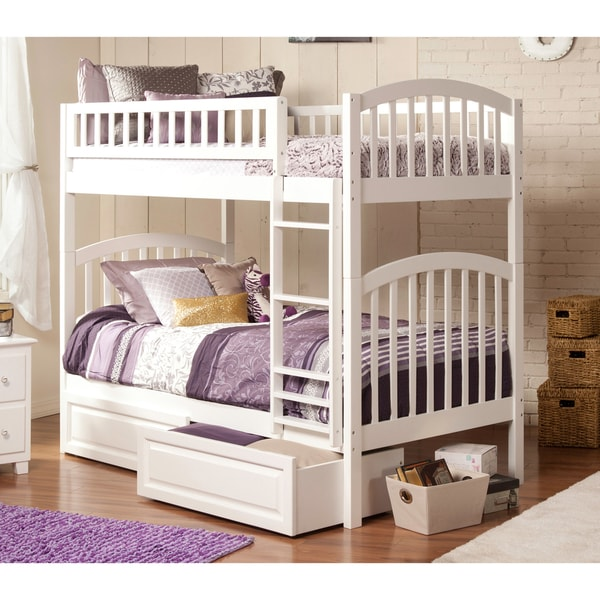 shop atlantic richland white twin over twin bunk bed with 2 raised panel bed drawers free. Black Bedroom Furniture Sets. Home Design Ideas