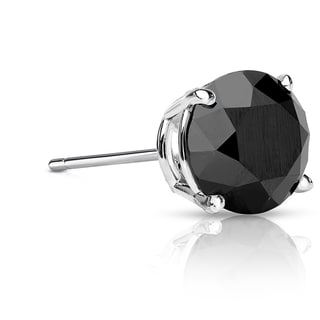 Auriya 14k Gold 2ct TDW 4-Prong Push-Back Round Cut Black Diamond Single Stud Earring