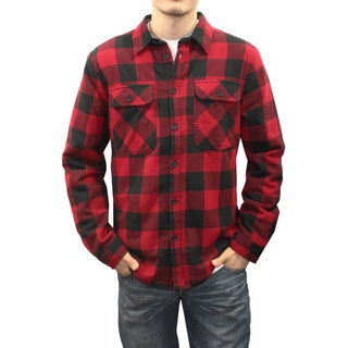 Men's Red and Black Cotton Sherpa-lined Plaid Button-down Shirt