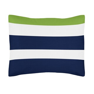 Blue, Green, and White Pillow Sham for Stripe Kids and Teen Bedding Collection