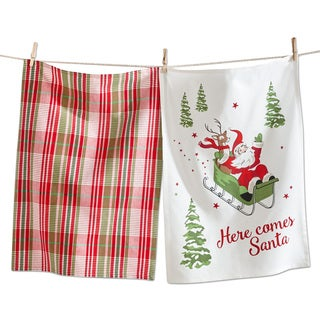 TAG Christmas Here Comes Santa Dishtowel (Set of 2)