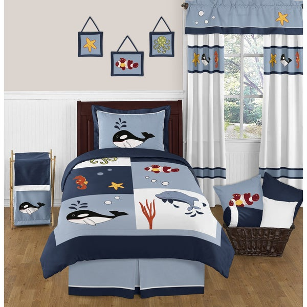 Sweet Jojo Designs Ocean Blue Sea Life 4-piece Twin Comforter Set
