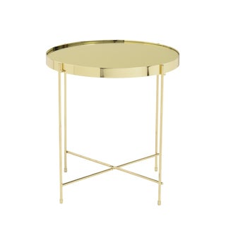 Trinity High-gloss Gold-tone Base Glass/Steel Round Side Table