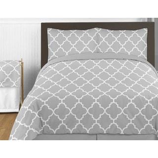 Sweet Jojo Designs Gray and White Trellis Twin 4-piece Comforter Set