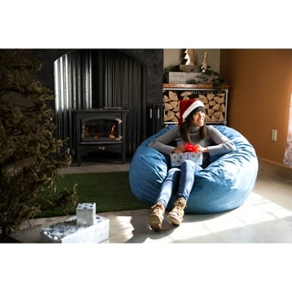 FufSack Big Joe Lux Linen and Memory Foam Large Bean Bag Chair