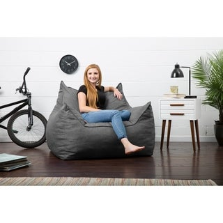 FufSack Big Joe Lux Imperial Solid-colored Polyester Linen Memory Foam Bean Bag Lounger Chair