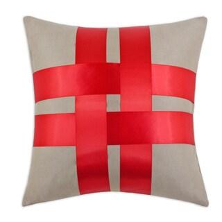 Slam Dunk Khaki Fiber/Red Ribbon Polyester Cross Throw Pillow