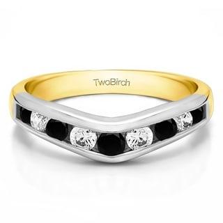 TwoBirch 10k White Gold 1/3ct TDW Black and White Diamond Chevron-inspired Classic Contour Wedding Band (G-H,