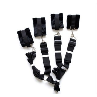 Bed Bondage Strap Kit with Furry Cuffs