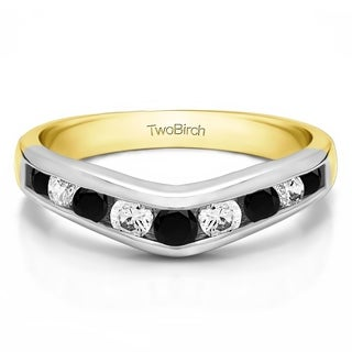 TwoBirch 14k White Gold 5/8ct TDW Black and White Diamond Chevron-inspired Classic Contour Wedding Band (G-H,