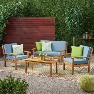 Peyton 4-piece Outdoor Wooden Chat Set with Cushions by Christopher Knight Home (Option: Red)