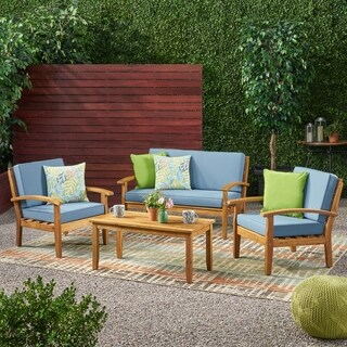 Link to Peyton 4-piece Outdoor Wooden Chat Set with Cushions by Christopher Knight Home Similar Items in Outdoor Loveseat