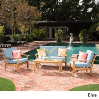Peyton 4-piece Outdoor Wooden Chat Set with Cushions by Christopher Knight Home (Option: Blue)