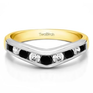 TwoBirch Sterling Silver 5/8ct TDW Black and White Diamond Chevron-inspired Classic Contour Wedding Band (G-H