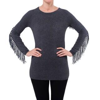 Premise Cashmere Women's Fringe Sleeve Detail Pullon Cashmere Top