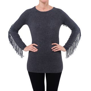 Premise Cashmere Women's Fringe Sleeve Detail Pullon Cashmere Top|https://ak1.ostkcdn.com/images/products/12991364/P19737572.jpg?impolicy=medium