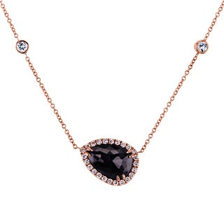 Annello by Kobelli 14k Rose Gold 2 1/4ct TDW Black and White Diamond One-of-a-kind Pear and Bezel Ne