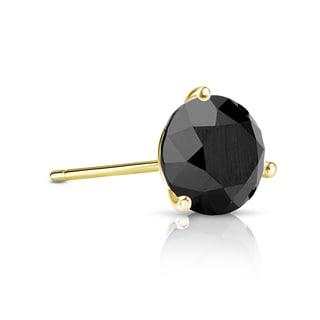 Auriya 14k Gold 1/3ct TDW 3-Prong Push-Back Round Cut Black Diamond Single Stud Earring
