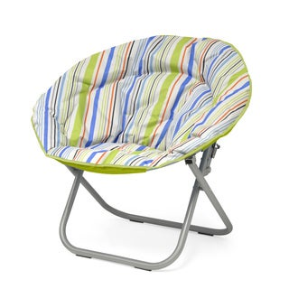 Urban Shop Polyester and Metal Surfer Stripe Saucer Papasan Chair