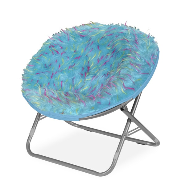 Rock Your Room Spiker Blue Faux Fur Saucer Papasan Chair