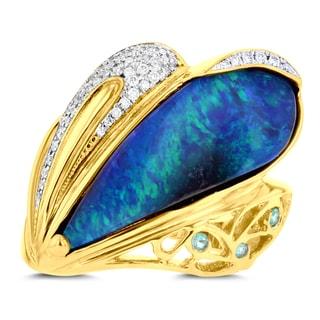 14K Yellow Gold Australian Boulder Opal 9.20cts, Paraiba Tourmaline .05cts and Diamonds .17cts La Vita Vital Ring (VS-SI1, G-H)