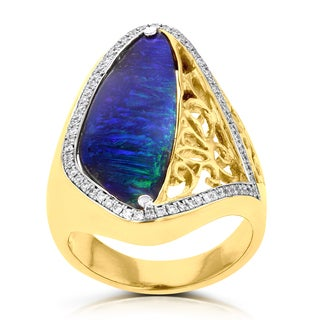 14K Yellow Gold Boulder Australian Opal 6.40cts, Paraiba Tourmaline .05cts and Diamonds .17cts La Vita Vital Ring (VS-SI1, G-H)