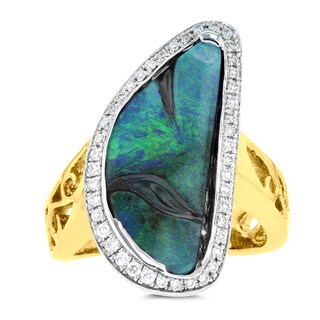 14K Yellow Gold Australian Boulder Opal 5.72ct, and Diamond 0.22ct Ring (VS-SI1, G-H