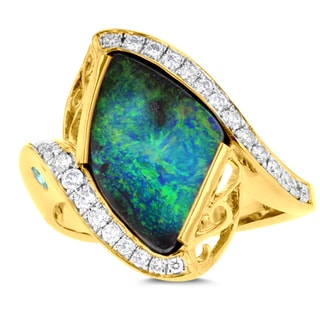 14K Yellow Gold Australian Boulder Opal 3.20cts Paraiba Tourmaline 0.20cts and Diamonds 0.26cts La Vita Vital Ring (VS-SI1, G-H)