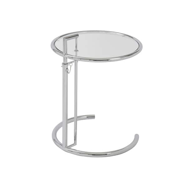 Side Table 40 Euro.Shop Euro Style Eileen Chrome Base Clear Glass Top Round