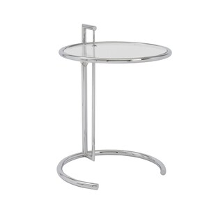 Euro Style Eileen Chrome Base/Clear Glass Top Round Side Table