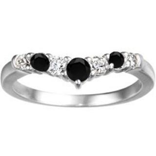 TwoBirch 10k White Gold 1/3ct TDW Black and White Diamond Chevron Classic Contour Wedding Ring (G-H, I1-I2)