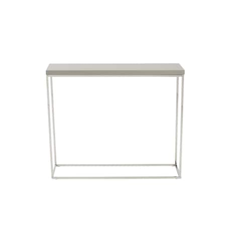 Teresa Taupe Lacquer Console Table with Polished Stainless Steel Frame