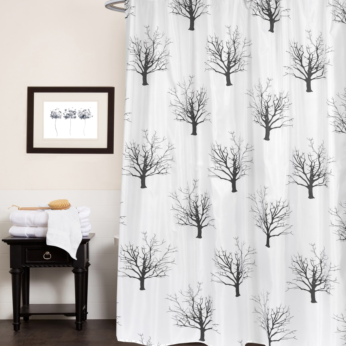 Black And White Tree Silhouette Print Fabric Shower Curtain 70 X72
