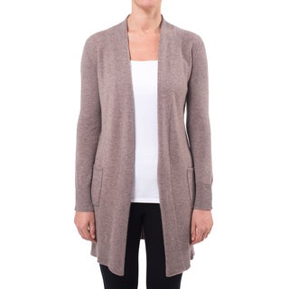 Premise Women's Grey/Beige Cashmere Shawl Collar Cardigan With Long Sleeves