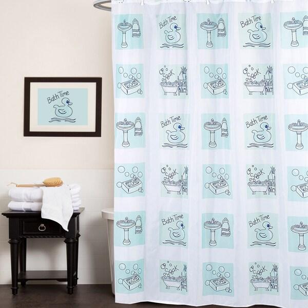 """Fun Bath Time Print Fabric Shower Curtain (70""""x72"""")"""