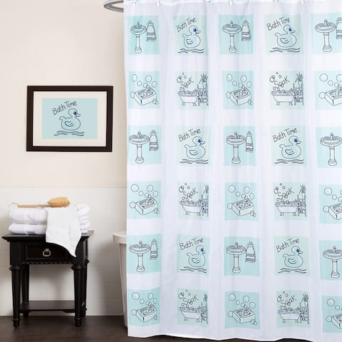 "Fun Bath Time Print Fabric Shower Curtain (70""x72"") - Multi"