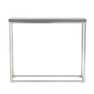 Teresa Matte Grey Console Table with Brushed Stainless Steel Frame