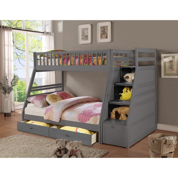 Shop Dakota Grey Wooden Twin And Full Storage Staircase Bunk Bed