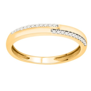 Trillion Designs 14k Yellow Goldplated Sterling Silver Natural Diamond Accent Wedding Band
