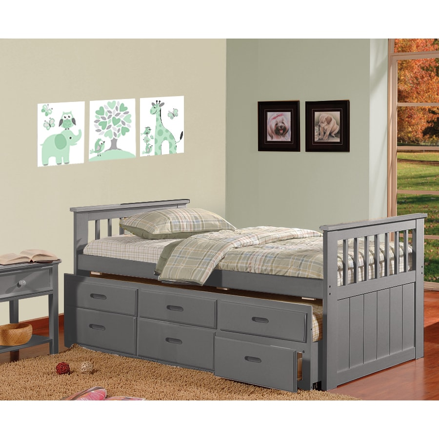 "Bella Benny Grey Three-drawer Trundle Bed (79.5"" X 43"" X ..."