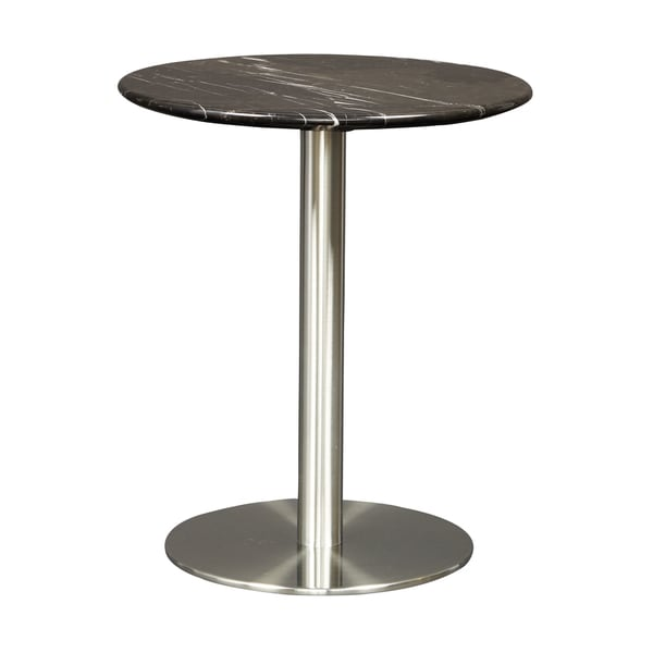 Tammy Round Black Marble And Brushed Stainless Steel Side Table