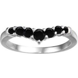 TwoBirch Sterling Silver 1/2ct TDW Black Diamond Chevron Classic Contour Wedding Ring
