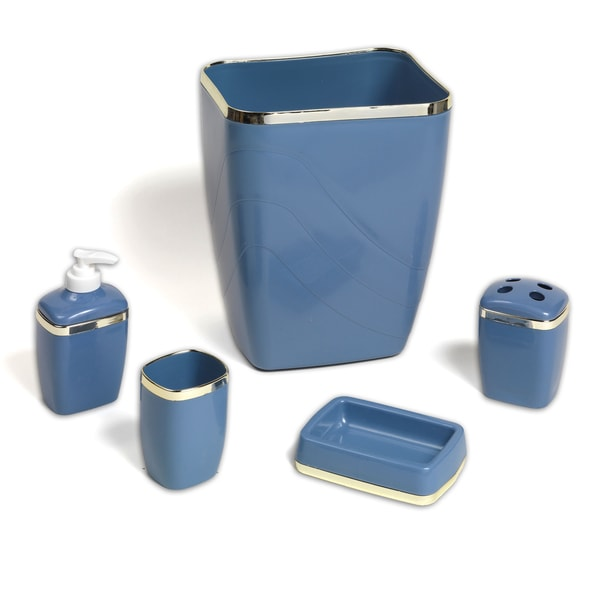 5-Piece Blue and Gold Plastic Bathroom Accessory Set