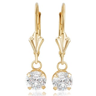 Avanti 14K Yellow Gold 1 CT TGW Round Cubic Zirconia Lever Back Dangle Earrings