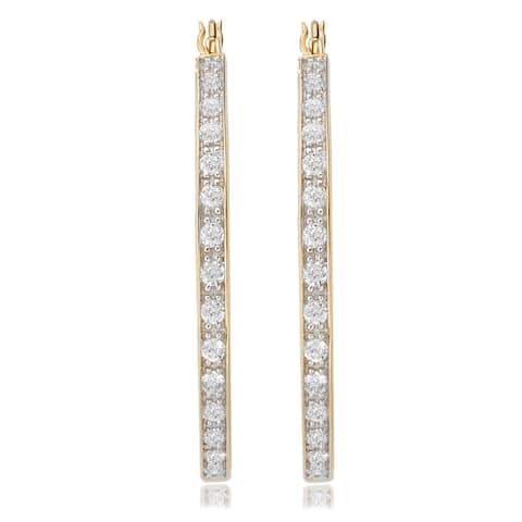 Avanti 14K Yellow Gold 2 1/10 CT TGW Round CZ In and Out Hoop Earrings